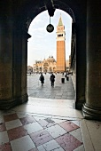 View of Saint Mark's Church Tower through arcade, Venice, Italy