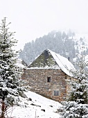 Stone house and fir trees in snow, Baqueira-Beret, Spain