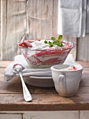 Rhubarb trifle with lemon balm, sponge and a lime and quark cream