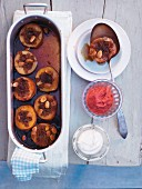 Stewed quince in marsala wine with mascarpone and strawberry puree