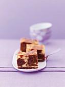 Marble brownies with pecan nuts