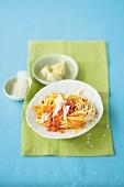 Pumpkin pasta with organic salmon and Parmesan cheese