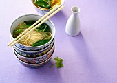 Rice noodle soup in an oriental soup bowl (China)