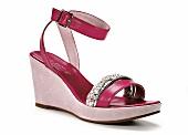Pinker Schuh mit Keilabsatz, mit Strass verziert, Pumps