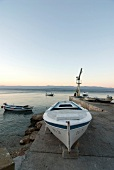 Boat on jetty at Bra?, Adriatic Sea, Croatia