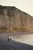 Blick auf Steilküste von d'albâtre, Strand, Menschen, idyllisch