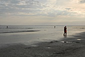 Couple embracing on beach in evening