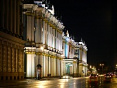 View of illuminated Eremitage hotel at night in St. Petersburg, Russia