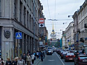 View of busy street in St. Petersburg, Russia
