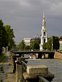 View of Kryukov Canal and tower of St. Nicholas Naval Cathedral in St. Petersburg, Russia