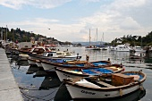 Boats moored in the fishing harbor in Istanbul, Turkey
