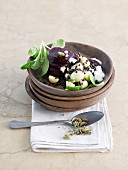 Potato salad with beetroot, black lentils and cardamom
