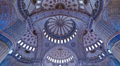 Interior view of domes in Blue Mosque, Istanbul, Turkey