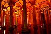 Interior of Basilica Cistern in Istanbul, Turkey