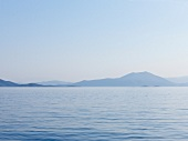 View of sea with Pelion mountain in background, Eastern Magnesia, Greece