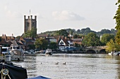 View of St Mary's Church and Thames River in Henley-on-Thames, Oxfordshire, England
