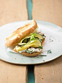 Ciabatta topped with courgette, lettuce and goat's cheese