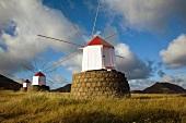 Windmills in a row on Porto Santo island, Madiera, Portugal