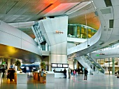 Visitors at entrance hall in BMW World, Munich, Germany