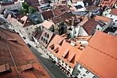 Aerial view of rooftops in Regensburg, Bavaria, Germany