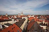 View of rooftops in city, Regensburg, Germany