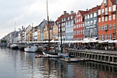 View of colourful buildings along with boats in Nyhavn, Copenhagen, Denmark