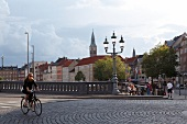 View of people and houses at H\0jbro Plads in Copenhagen, Denmark