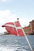 Danish flag on boat in Copenhagen, Denmark
