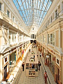 View of arcade of Passasch and people shopping in Saint Petersburg, Russia