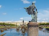 View of Peterhof fountain statues in Saint Petersburg, Russia