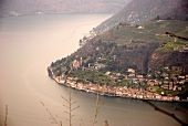 View of cityscape and lake in Lugano, Switzerland