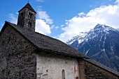 San Carlo Romanesque church with tower peaks, Ticino, Switzerland