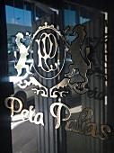 Close-up of Pera Palas written on glass, Istanbul, Turkey