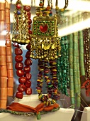 Close-up of different coloured stone jewellery and necklace in shop, Istanbul, Turkey
