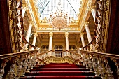 Low angle view of grand staircase at Dolmabahce Palace, Istanbul, Turkey