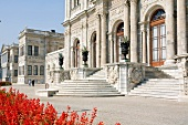 View of marble stairway at Dolmabahce Palace, Istanbul, Turkey