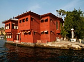 Wooden red villa on Bosphorus shore, Istanbul, Turkey