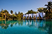 Wide view of canopy pool area at luxury hotel in Khao Lak Sarojin, Thailand