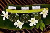 Thailand: Phuket, Luxushotel Banyan Tree, Wellness, Öle, Blüten weiss