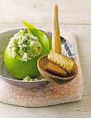Wild garlic risotto served in a hollowed out Apple with smoked eel
