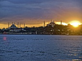 View of cityscape and mosques at sunset, Istanbul, Turkey