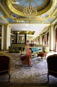 Lobby of luxury Hotel Mardan Palace, Antalya, Turkey, blurred motion