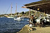 Türkei, Bodrum, Dorf Gümüslük, Hafen Fischrestaurant, Gäste am Tisch