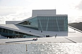 Tourists at Oslo Opera House in Oslo, Norway