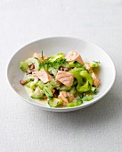 Salmon ragout with cucumber and dill on a plate