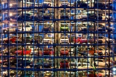View of new cars in the glass towers of Autostadt, Wolfsburg, Germany