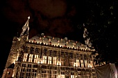 View of illuminated city hall at night at Aachen, Germany