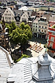 View of the cathedral, town, houses and Cathedral Square from the tower, Aachen, Germany