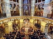 Elevated view of people at celebration service in the Aachen Cathedral, Aachen, Germany