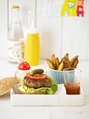 A wholemeal burger with potato wedges